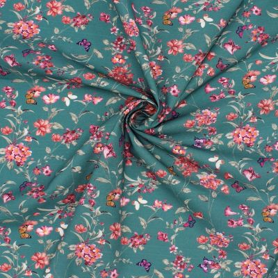 100% cotton printed with flowers and butterflies