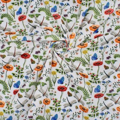 100% cotton printed with flowers and insects