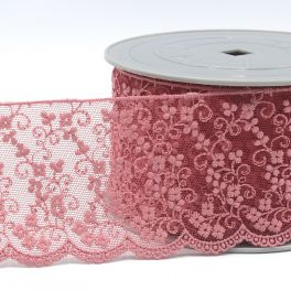 Embroidered tulle with flowers - old pink