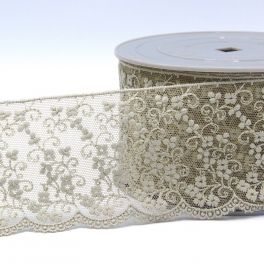 Embroidered tulle with flowers - linen