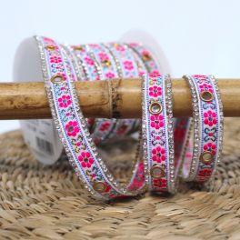 Iron-on braid trim - white and pink