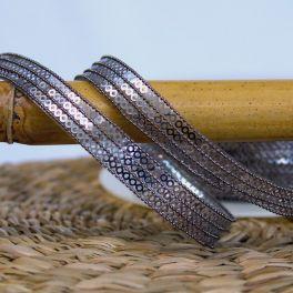Iron-on braid trim with glitters - grey-black
