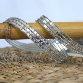 Iron-on braid trim with glitters - silver