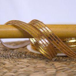 Opstrijkbare biesband met glitters - goud