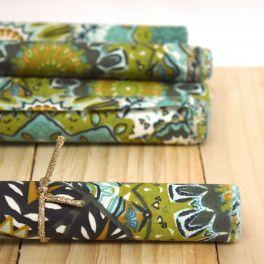 Coton enduit turquoise imprimé mandala