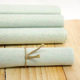 Coated cotton with golden thread - plain green