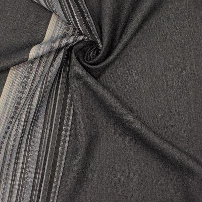 Twill gris en laine avec bordure
