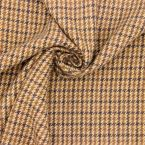 Plaid wool fabric  - beige and brown
