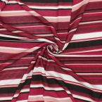 Jersey fabric with pink, burgondy, white and black stripes