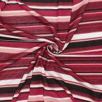 Tissu jersey rayé rose, bordeaux, blanc et noir