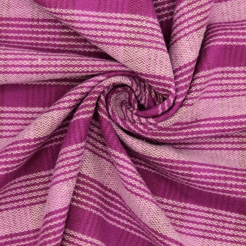 Tissu en coton et polyester gratté à carreaux roses