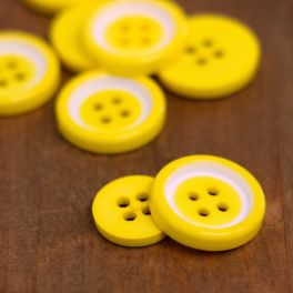 Resin button - yellow and white
