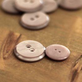 Round resin button  - grey/pink