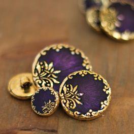Bouton rond en résine doré et violet Byzantium