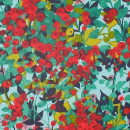 Coated cotton printed with red nasturtium