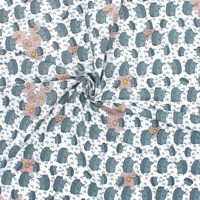 Cretonne bedrukt met egels - grijs
