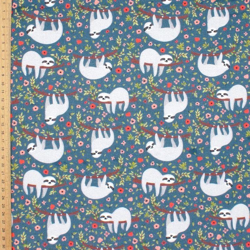 Cretonne bedrukt met luiaards - blauw