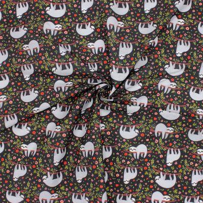 Cretonne bedrukt met luiaards - zwart