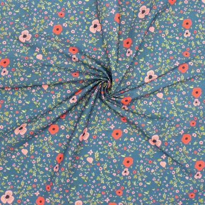 Cretonne bedrukt met bloemen - blauw