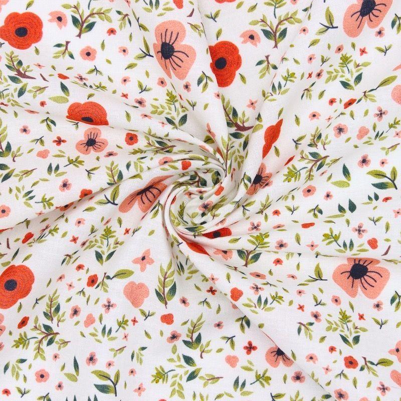 Cretonne bedrukt met bloemen - wit