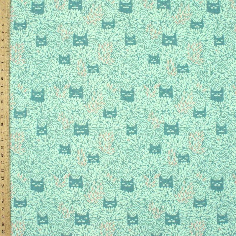Cretonne bedrukt met kattenkop - saliegroen