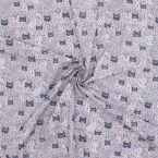 Tissu cretonne imprimé tête de chat noir