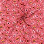 Popeline van katoen met winterviooltje - rood
