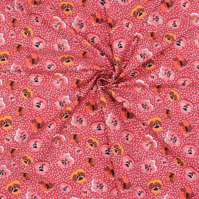 Popeline de coton rouge imprimé pensées