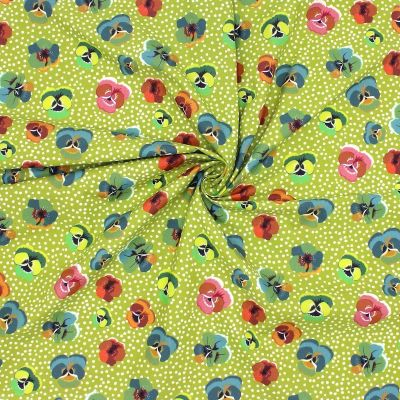 Poplin of cotton printed with wild pansy - green anise