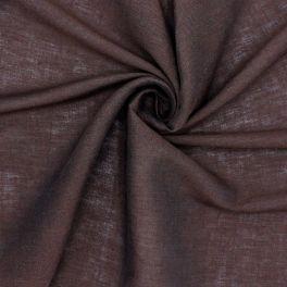 Tissu vestimentaire brun en lin et coton