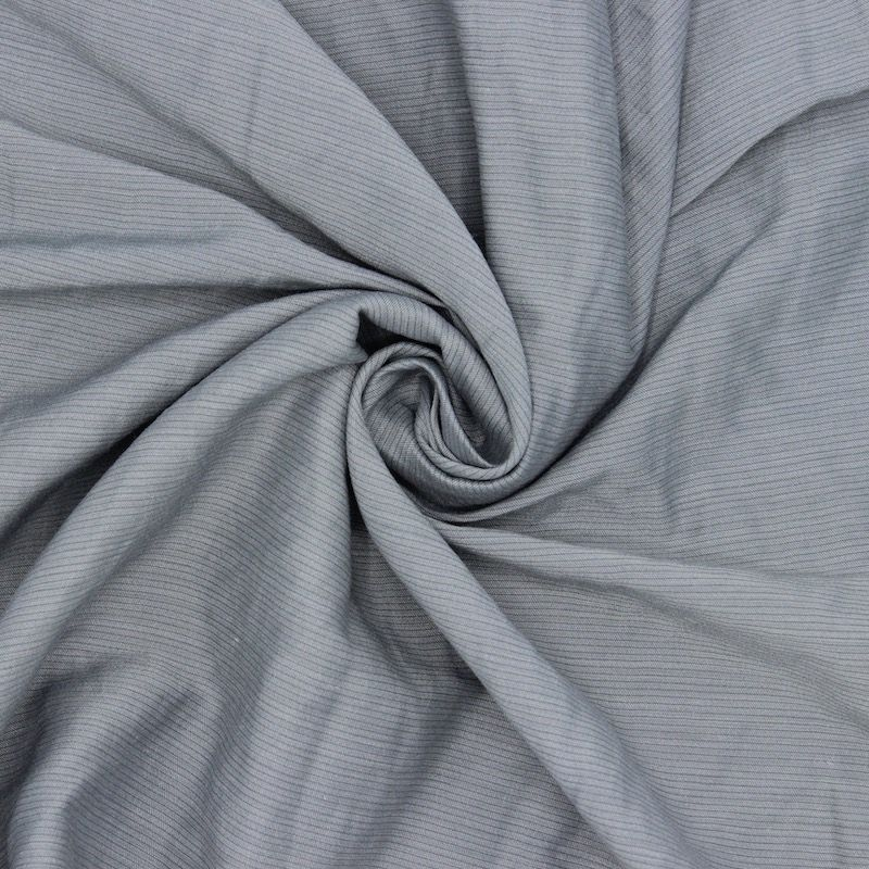 Apparel fabric with thin stripes - grey