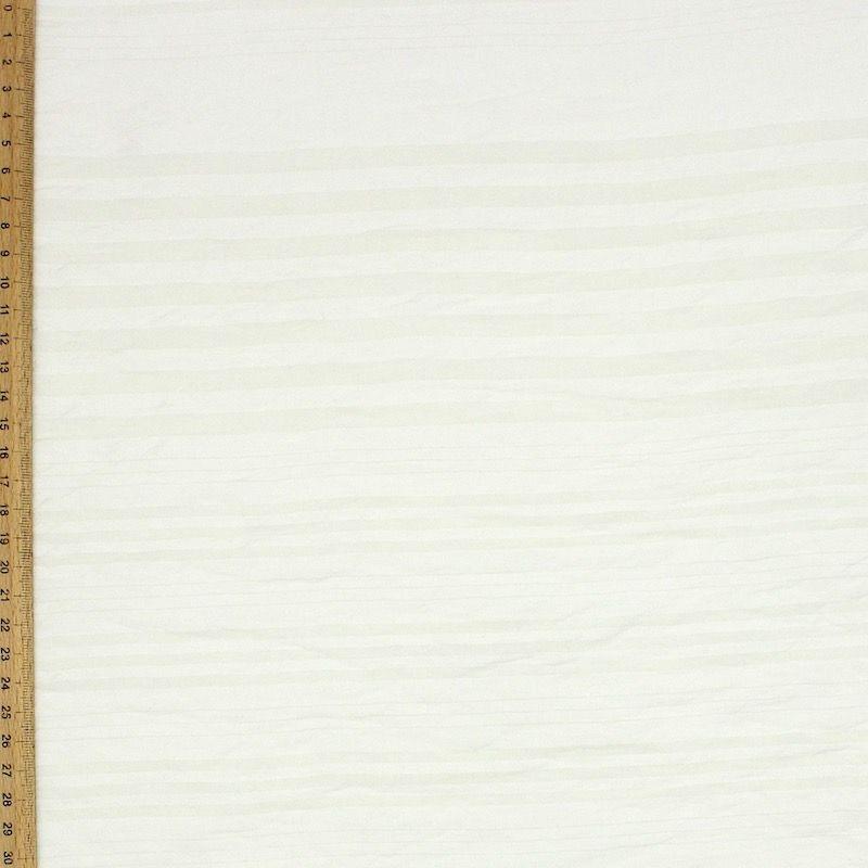 Tissu voile beige à rayures