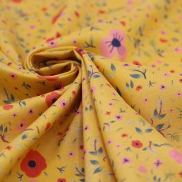 Viscose printed with flowers - mustard yellow