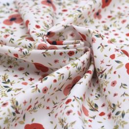Viscose printed with flowers - white