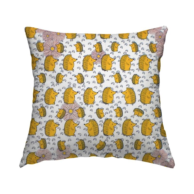 Cretonne printed with hedgehog - mustard yellow