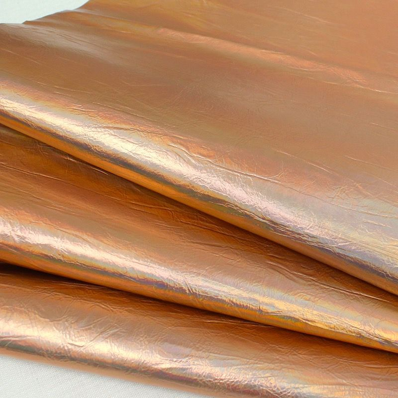 Faux leather with hologram effect - copper