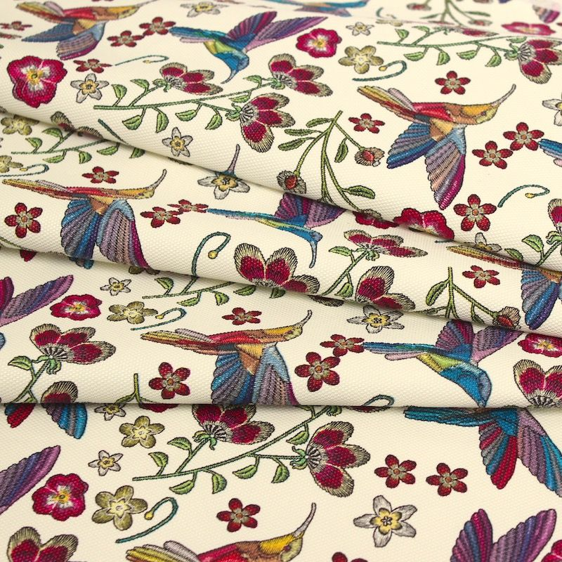 Fabric printed with flowers - cream background