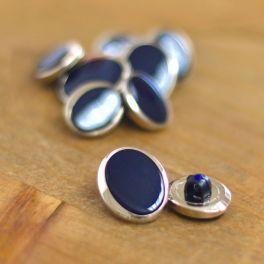 Bouton  aspect métal argent et bleu nuit