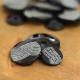 Vintage ronde knoop in hars - zwart