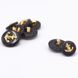Resin button - navy blue and golden anchor