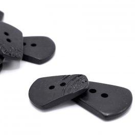 Vintage knoop in hars - zwart