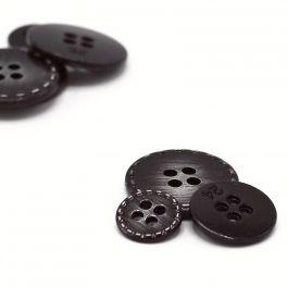 Metalen knoop - zwart en zilver