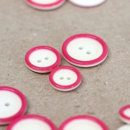 Resin button - off white and pink