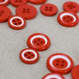 Resin button - red and white