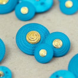 Button - turquoise and gold