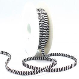 cordon tressé zig zag  noir et blanc