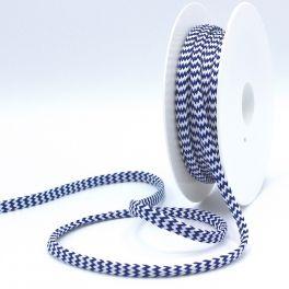cordon tressé zig zag marine et blanc