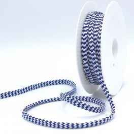 Zig zag braided cord - navy blue and white