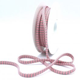 Zig zag braided cord - grey and pink