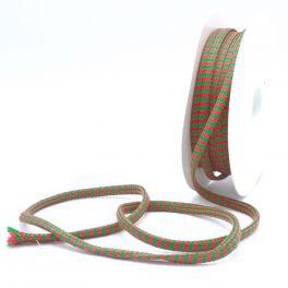 Zig zag braided cord - anise green and fuchsia